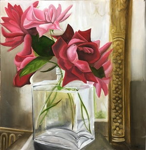 Roses in a Glass Bottle