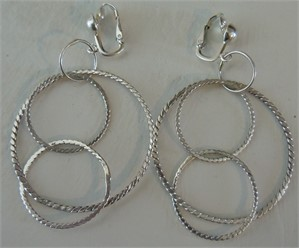 Sterling Silver Textured Circle Clip Earring