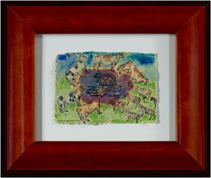 Beaver Lake Beaver with Surround Sound Cows signed and dated lower left, 2004
