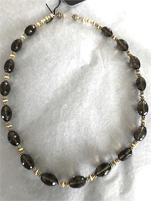Necklace - Smokey Quartz & Gold Vermeil  #8674, 2020