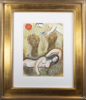 Booz se réveille et voit Ruth à ses Pieds (Boaz Wakes Up and Sees Ruth at his Feet), M 249/272 by Marc Chagall