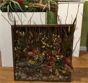 Santa Gertrudis Walk   Hanging Shadow Box with Lichen, Kitten Grass, Mesquite, Plume Grass, Reindeer Moss, Seed Pods #23, 2019