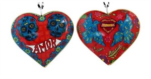 Ornament - Amor Skulls Heart