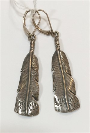Earrings - Silver Owl Feather 7284, 2019