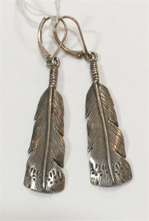 Earrings - Silver Owl Feather 7284, 2019