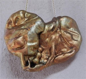 "Antique Gold Hanging Heart 4"" original price $95 PROMO $48"