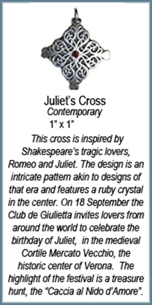 Pendant - Silver Juliet's Cross With Ruby 8908, 2019