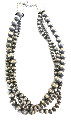 "Necklace - 18"" 3 Strand Antiqued Silver"