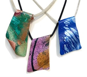 Necklace - Handpainted Paper Pendants Assorted