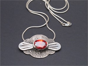"Pendant - Red garnet cz, embossed, carved fine silver 18"" sterling chai  AS 012, 2018"