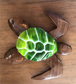"5 "" Walnut Turtle w/ fused glass, 2019"
