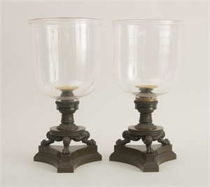 FINE PAIR OF GEORGE IV PATINATED BRONZE CANDLESTICKS