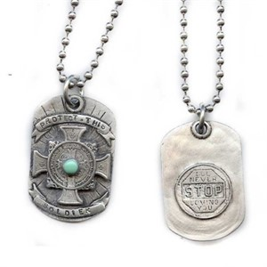 "Necklace - 18"" Pewter - Protect This Soldier"
