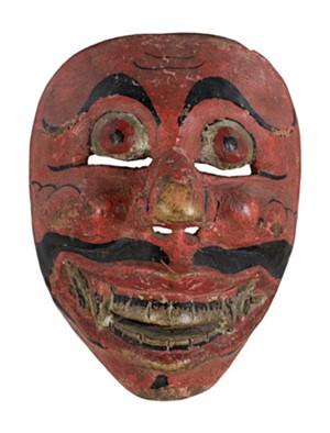 Mask, narrow round eyes, fangs, red skin, 19th Century