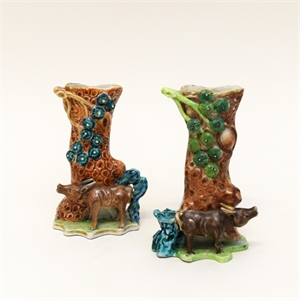 PAIR OF SPILL VASES WITH WATERBUFFALO AND PINE TREE TRUNK , Chinese, late 18th/early 19th Century