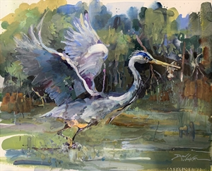 Fast Food - White Heron in Flight by Dirk Walker