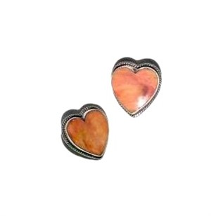 Earrings - Sterling Silver Post Hearts With Spiny Oyster