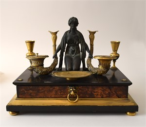 EMPIRE GILT AND PATINATED-BRONZE, WALNUT, AND MARBLE ENCRIER, French, circa 1810