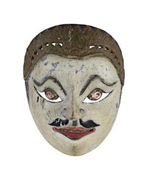Mask, white face, round eyes, painted mustache, 19th Century