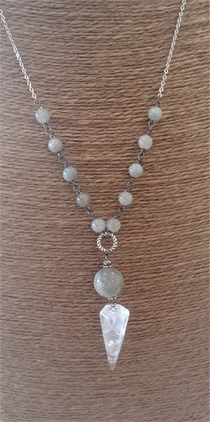 Quartz, Labradorite Long Necklace, 2019