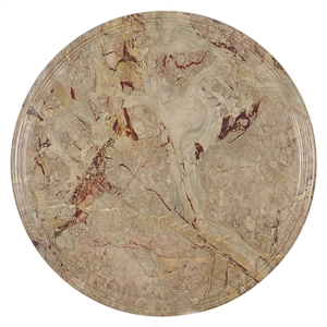 ITALIAN RED AND YELLOW VARIEGATED MARBLE CIRCULAR TABLE TOP, Italian