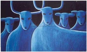 "FIVE BLUE DEER - limited edition giclee on canvas (large) 40""x54"" $3500 or (medium) 30""x40"" $2200 or on paper w/frame size of: (large) 40""x54"" $3700 or (medium) 30""x40"" $2200"