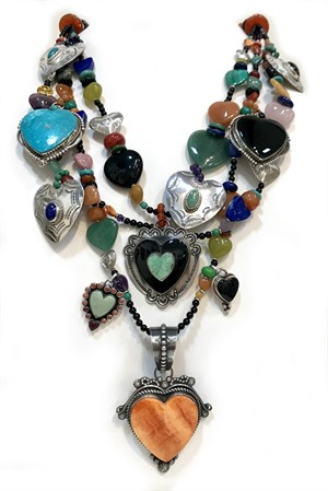 KY 1275 - Three strand necklace with black onyx, Lapis, pure silver and turquoise.