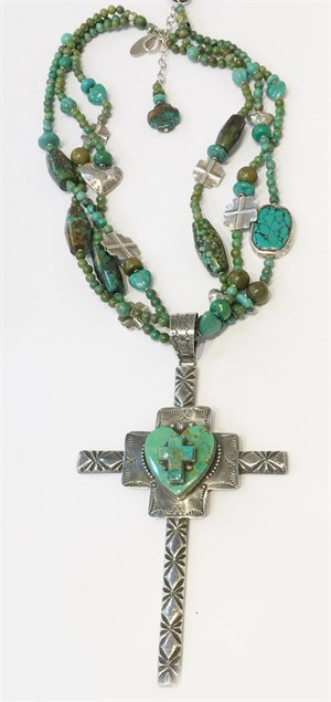 KY 1320C - Three strand turquoise hearts and cross Necklace, 2019