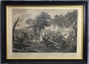 SIX ENGRAVINGS BY L. LAGUERRE: SCENES FROM THE BATTLE OF BLENHEIM, BATTLE OF RAMILLIES, AND BATTLE OF TANIERES, English, 18th century