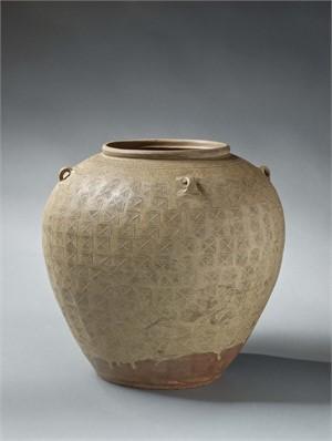 GLAZED POTTERY JAR W/IMPRESSED CHEVRON DESIGN, Eastern Han dynasty, 2nd century AD