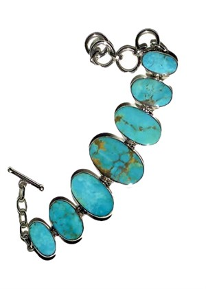 Bracelet - Turquoise Ovals set in Sterling Silver