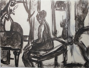 Seated Woman with Still Life by Anna Walinska
