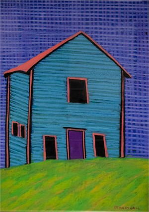 Turquoise House: Purple Door, Pink Roof