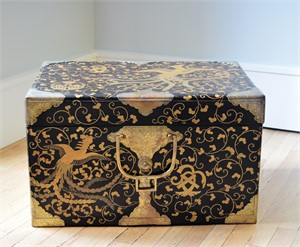BLACK AND GOLD LACQUER STORAGE CHEST WITH ETCHED BRASS MOUNTS , Japanese, 19th century