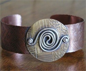 Copper and Brass Cuff Bracelet with Sterling Swirl