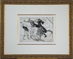 Homage a Leonardo d'Vinci (Horse & Rider Attacking Foot Soldier from De La Bataille Vol. I), 1978