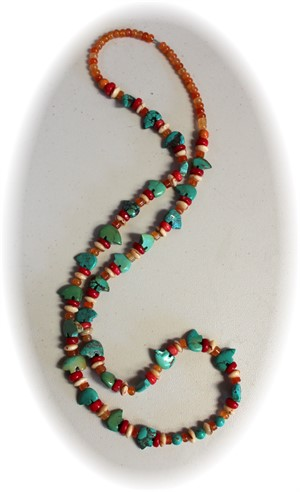 Turquoise Bear Fetish Beaded Necklace , 2019