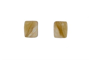 Square Muskox Horn and Sterling Silver Earrings