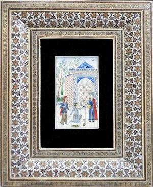 Persian Miniature (Three Figures Conversing), 20th c