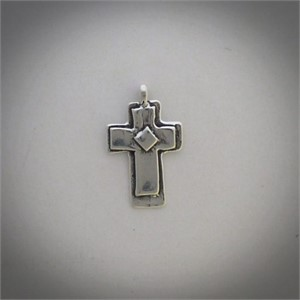 CROSS WITH DIAMOND - A cast sterling silver cross centered by a raised diamond.  31929, 2019