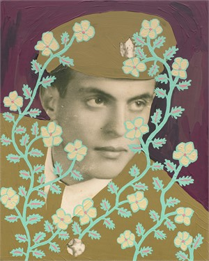 Untitled (Uniformed Man with Green and Cream Vines)