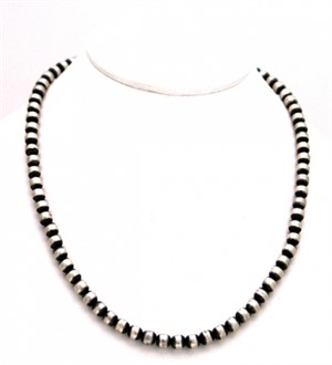"Necklace - 18"" Single Strand Antiqued Silver 6MM"