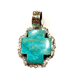 Pendant - Sterling Silver Turquoise Cross