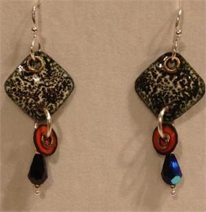 Copper Enamel & Sterling Earrings