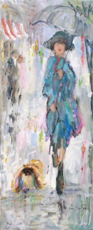 Woman with Pekingese