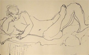 Nude Laying, leaning on elbow