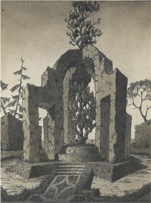 DRAWING OF A TOPIARY IN THE SHAPE OF AN ARCHED MONUMENT, French, 1937
