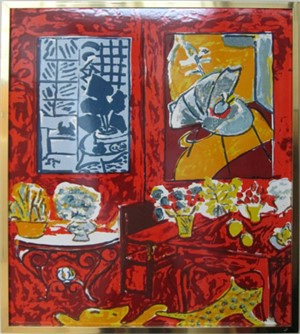 Red Interior with Flowers, 1948