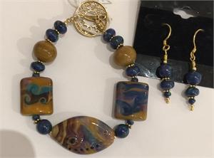 Bracelet - Lampwork Beads & Azorite  #687, 2020