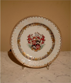 PAIR OF PLATES WITH ROBERTS QUARTERING PRICE, Chinese, circa 1738
